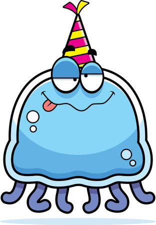 drunk party: A cartoon illustration of a jellyfish with a party hat looking drunk.