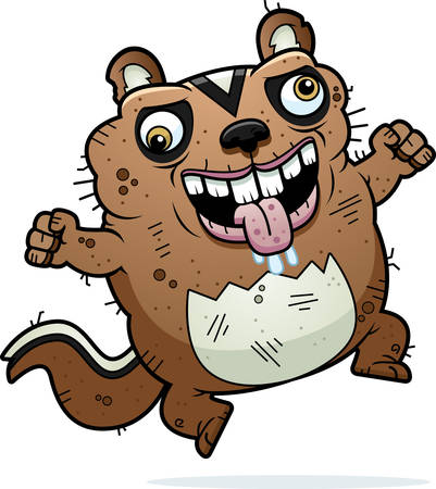 awful: A cartoon illustration of an ugly chipmunk looking crazy.