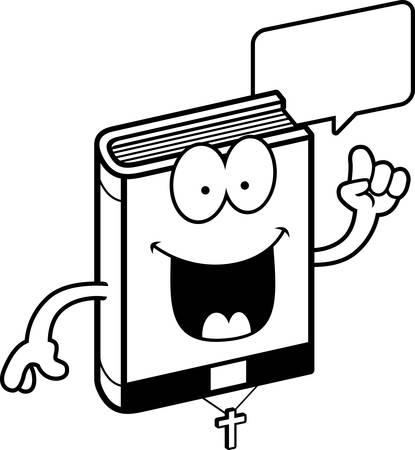 minister: A cartoon illustration of a bible talking. Illustration