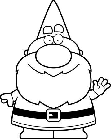 Een cartoon illustratie van een kabouter zwaaien. Stock Illustratie