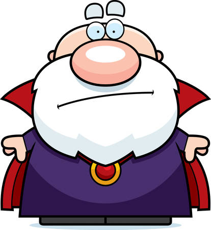 A cartoon illustration of a wizard looking bored.