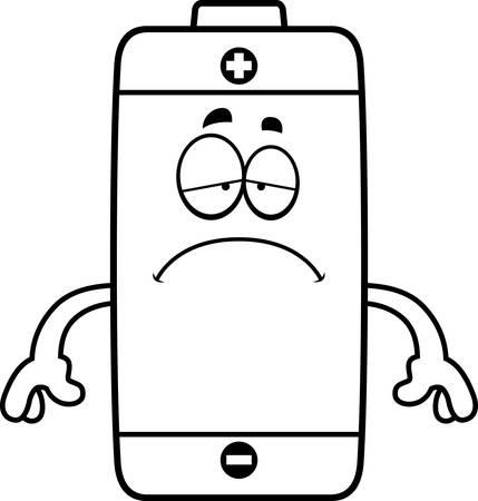슬픈 찾고 배터리의 만화 그림.