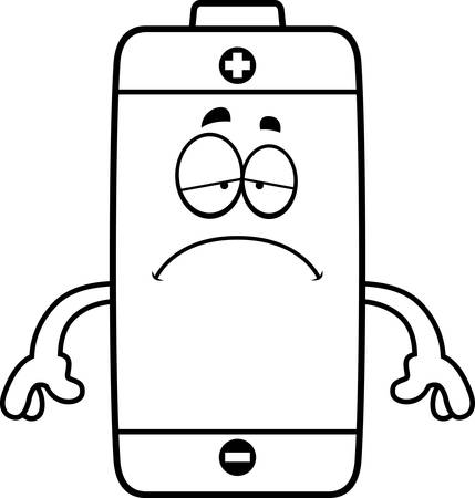 A cartoon illustration of a battery looking sad. Stok Fotoğraf - 44862718