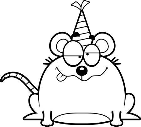A cartoon illustration of a mouse with a party hat looking drunk.