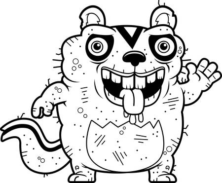 beastly: A cartoon illustration of an ugly chipmunk waving. Illustration