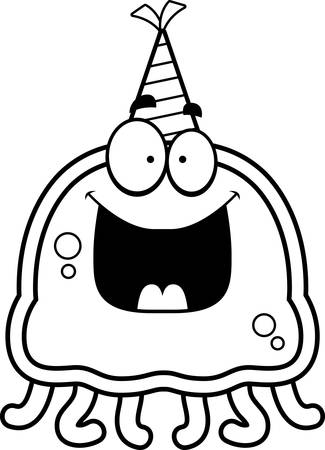 smilling: A cartoon illustration of a jellyfish with a party hat looking happy. Illustration