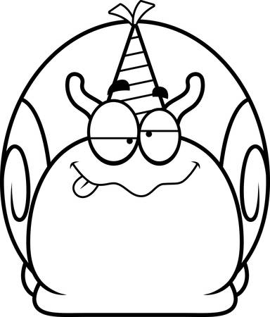 A cartoon illustration of a snail with a party hat looking drunk. Çizim