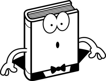 novel: A cartoon illustration of a horror novel looking surprised. Illustration