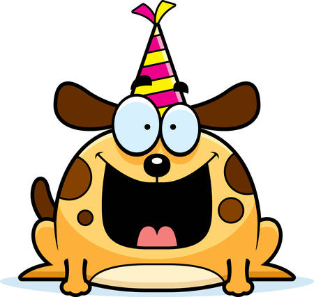 A cartoon illustration of a dog with a party hat looking happy.
