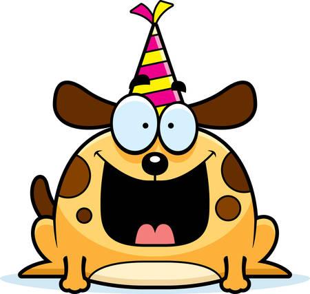perro caricatura: Un ejemplo de la historieta de un perro con un sombrero de fiesta que parece feliz. Vectores