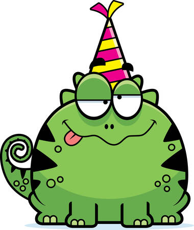 A cartoon illustration of a lizard with a party hat looking drunk.