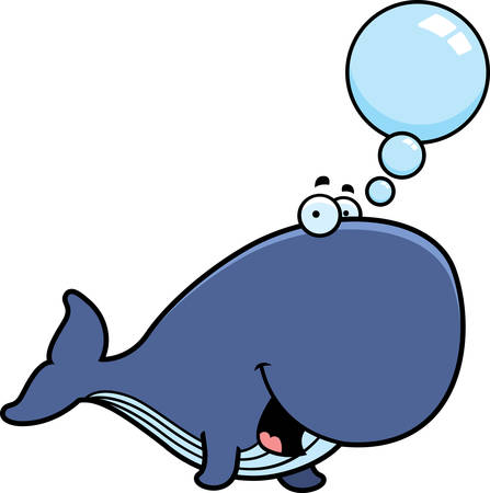 A cartoon illustration of a whale talking. Illustration