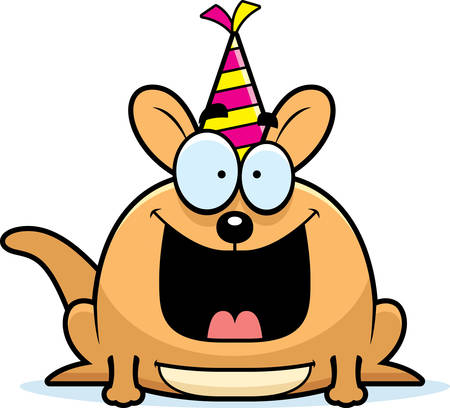 pouch: A cartoon illustration of a little kangaroo with a party hat looking happy.