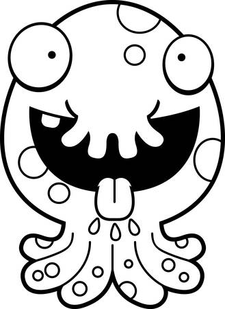A cartoon illustration of a little monster looking hungry.