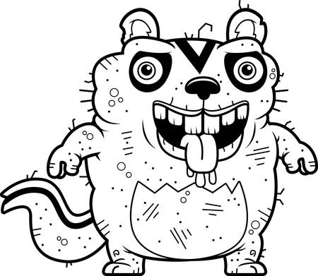 A cartoon illustration of an ugly chipmunk standing.