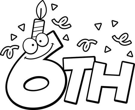 sixth: A cartoon illustration of the text 6th with a birthday candle and confetti. Illustration