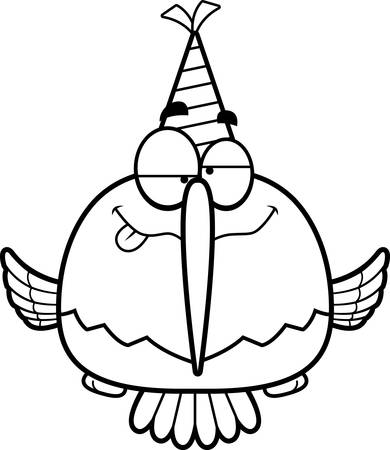 drunk cartoon: A cartoon illustration of a hummingbird with a party hat looking drunk. Illustration
