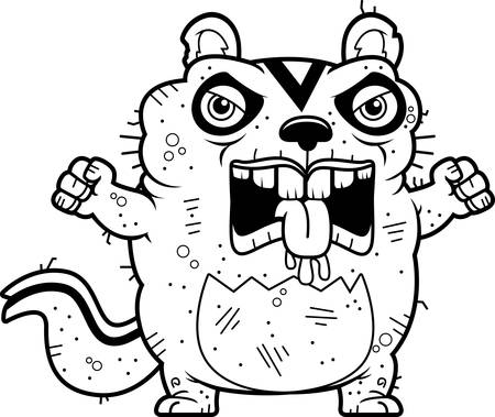 beastly: A cartoon illustration of an ugly chipmunk looking angry.
