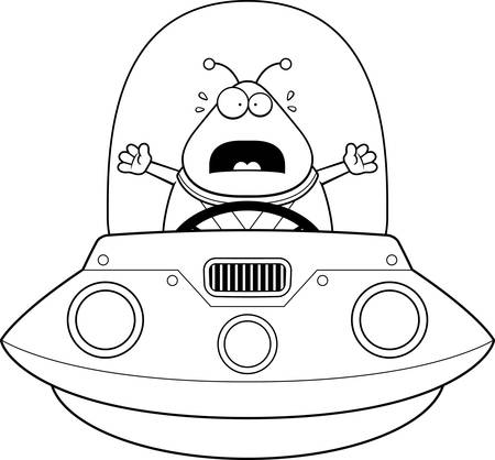 A cartoon illustration of an alien in a UFO looking scared. Ilustração
