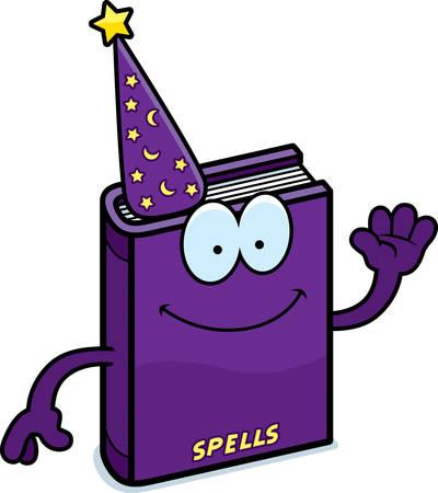 A cartoon illustration of a spell book waving.