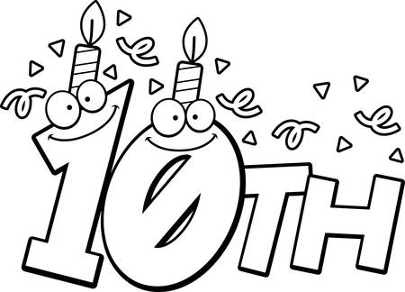 10th: A cartoon illustration of the text 10th with a birthday candle and confetti. Illustration