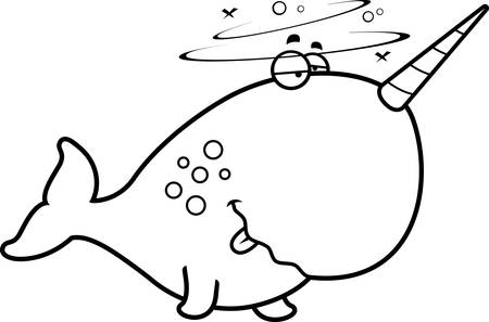 intoxicated: A cartoon illustration of a narwhal looking drunk.