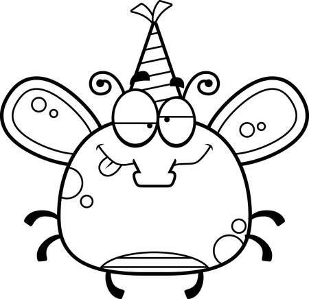 impaired: A cartoon illustration of a fly with a party hat looking drunk.