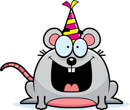 smirking: A cartoon illustration of a mouse with a party hat looking happy.