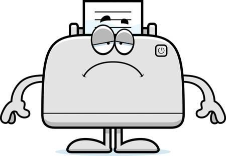 A cartoon illustration of a printer looking sad.