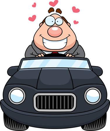 driving a car: A cartoon illustration of a businessman in love driving a car.