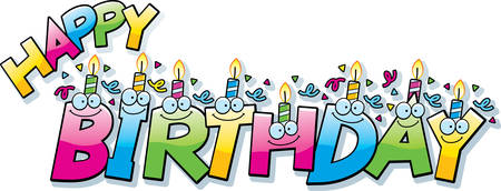 A cartoon illustration of the text happy birthday with birthday candles and confetti. Stock Illustratie