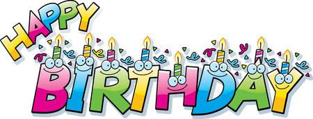 Een cartoon illustratie van de tekst gelukkige verjaardag met verjaardag kaarsen en confetti.