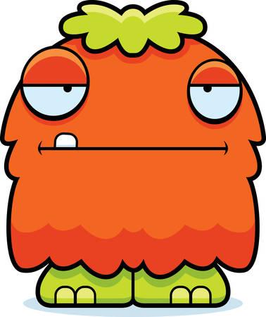 A cartoon illustration of a fluffy monster looking bored. Ilustração