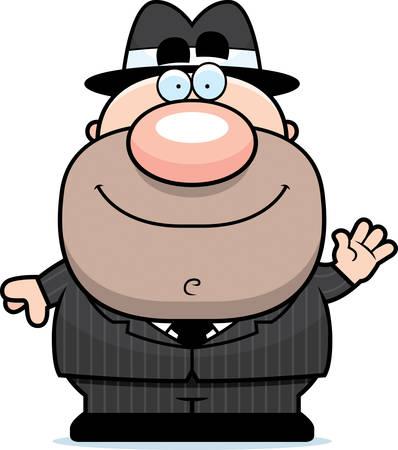mobster: A cartoon illustration of a mobster waving.