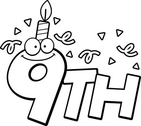 9th: A cartoon illustration of the text 9th with a birthday candle and confetti. Illustration