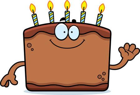 A cartoon illustration of a birthday cake waving.