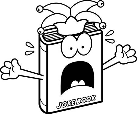A cartoon illustration of a joke book looking scared.