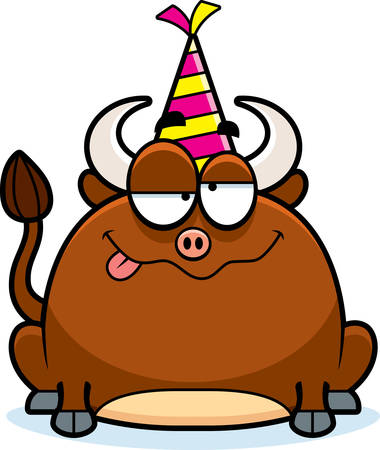 intoxicated: A cartoon illustration of a little bull with a party hat looking drunk.