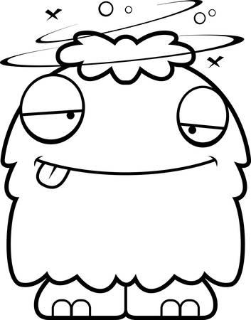 drunk cartoon: A cartoon illustration of a fluffy monster looking drunk. Illustration