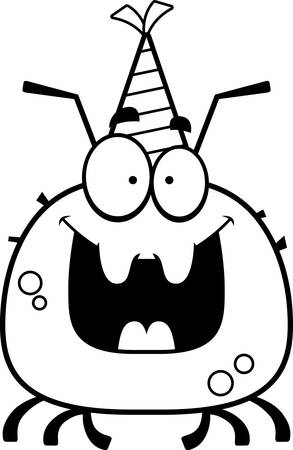 cartoon tick: A cartoon illustration of a tick with a party hat looking happy.