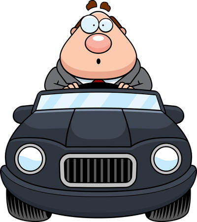 driving a car: A cartoon illustration of a businessman driving a car and looking surprised.