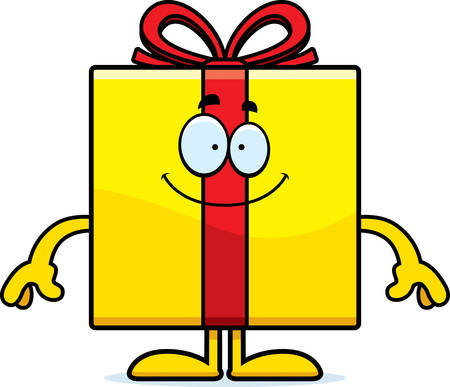 A cartoon illustration of a birthday gift looking happy.