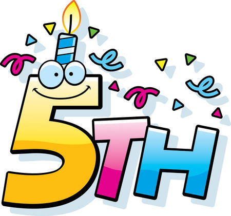 5th: A cartoon illustration of the text 5th with a birthday candle and confetti.