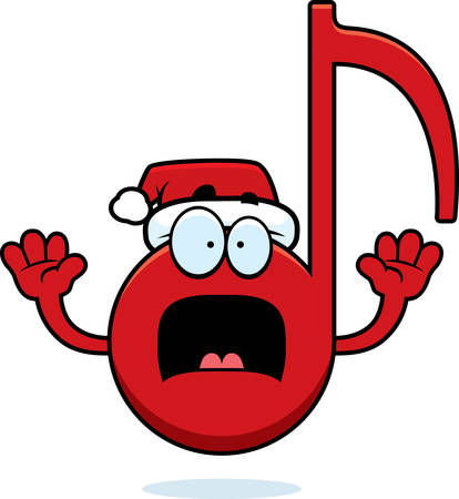 eighth note: A cartoon illustration of a Christmas themed musical note looking scared.