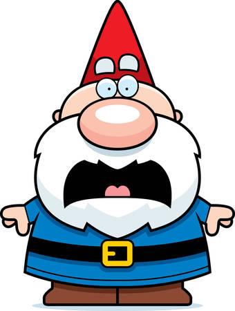 Een cartoon illustratie van een kabouter zoekt bang.