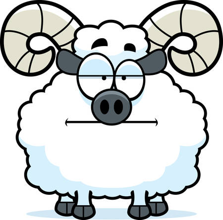 rams horns: A cartoon illustration of a ram looking bored.