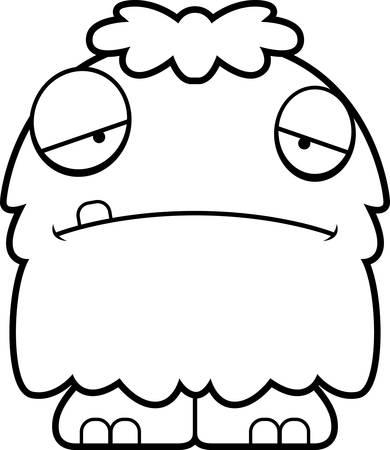 A cartoon illustration of a fluffy monster looking sad.
