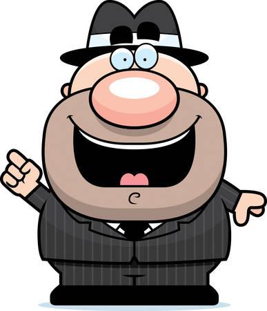Een cartoon illustratie van een gangster met een idee.