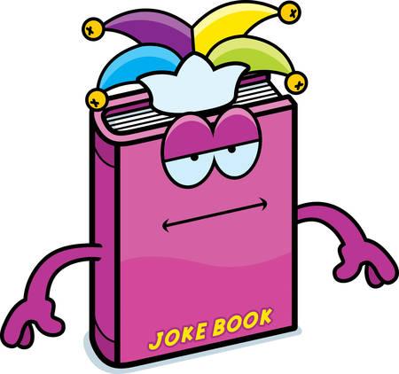 A cartoon illustration of a joke book looking bored. 向量圖像
