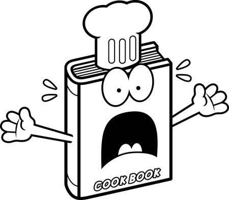 cookbook: A cartoon illustration of a cookbook looking scared.